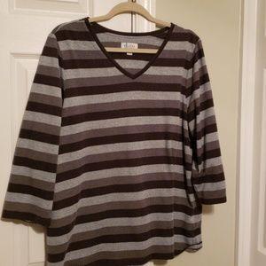 Denim & co gray stripe top xl